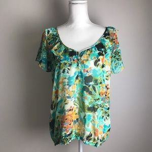 Sunny Leigh - Colourful watercolour flower top